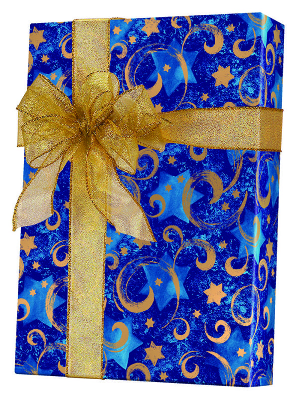 Gold Star Chanukah Wrapping Paper