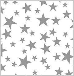 Silver Stars on White Printed Tissue Paper