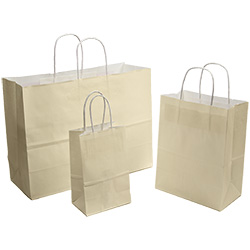 Ivory Tinted White Kraft Paper Shopper