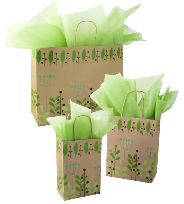 Leaves & Berries-Kraft Paper Shopping Bags