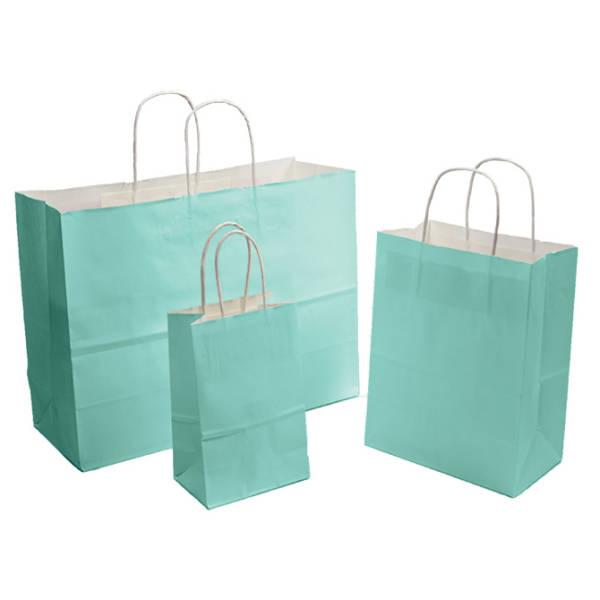 Lt. Turquoise Tinted White Kraft Paper Shopper
