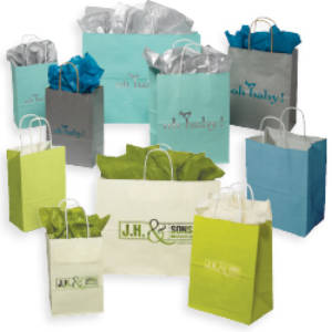 Tinted White Paper Shoppers