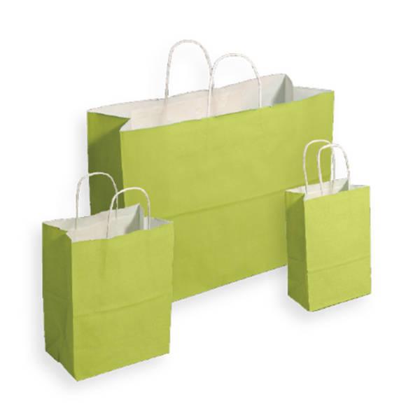 Pistachio Tinted White Kraft Paper Shopper