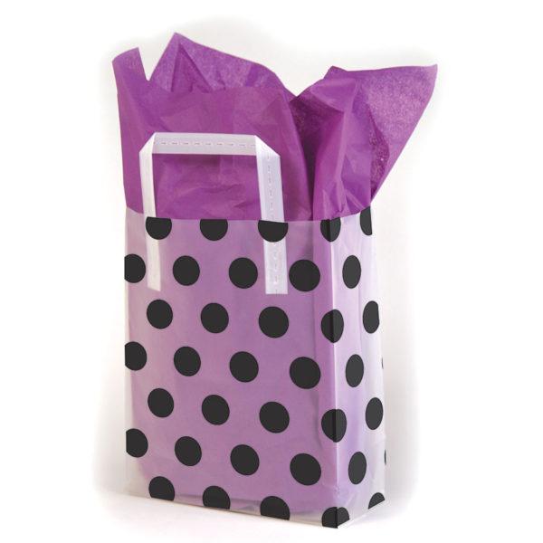 Black Dots/White - Printed Tri-Fold Shopping Bag