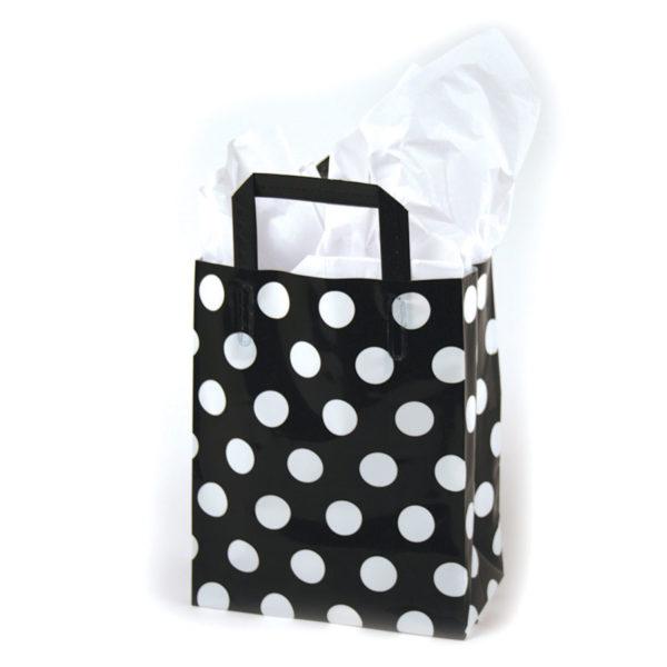 White Dots/Black - Printed Tri-Fold Shopping Bag