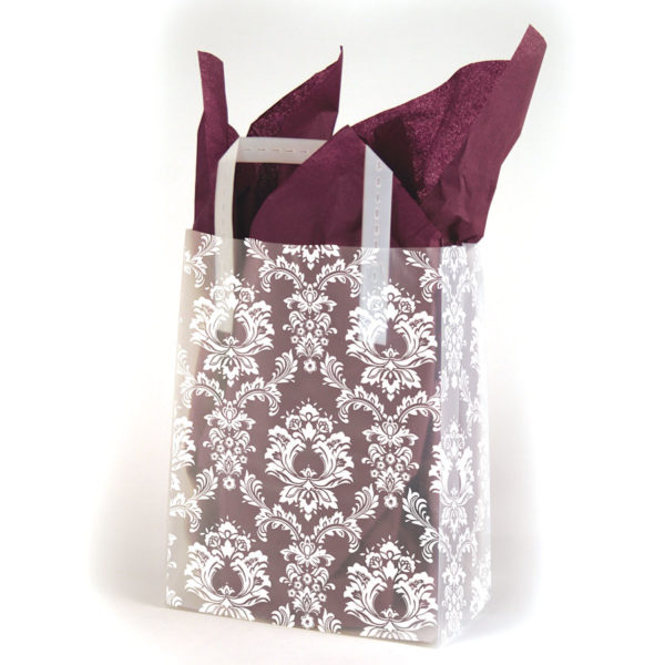 White Damask - Printed Tri-Fold Shopping Bag