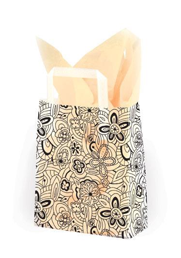 Floral Sketch Black - Printed Tri-Fold Shopping Bag