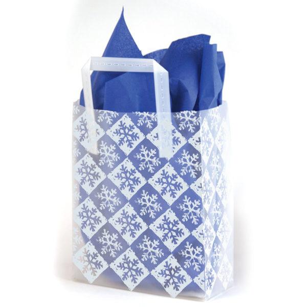 Snowflake Check Silver - Printed Tri-Fold Shopping Bag