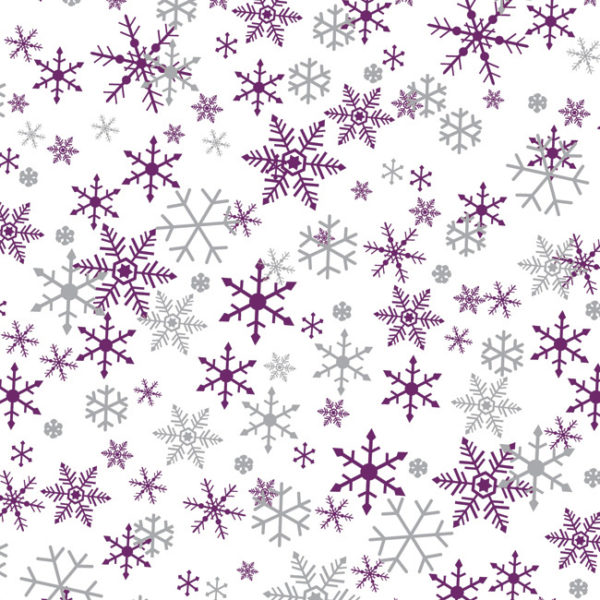 Silver & Purple Snowflake Printed Tissue Paper