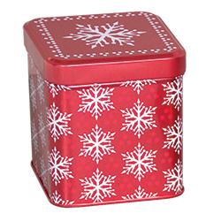 Snowflake Tin Box 3-1/2x3-1/2x4