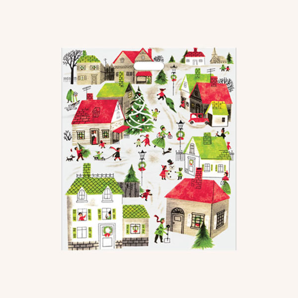 Village Plastic Shopping Bag with Handle
