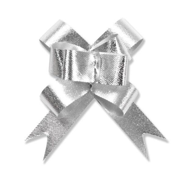 Silver - Glitter Flora Satin Bow