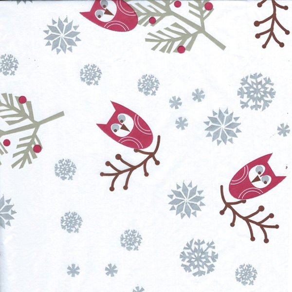 Holiday Owls Printed Tissue Paper