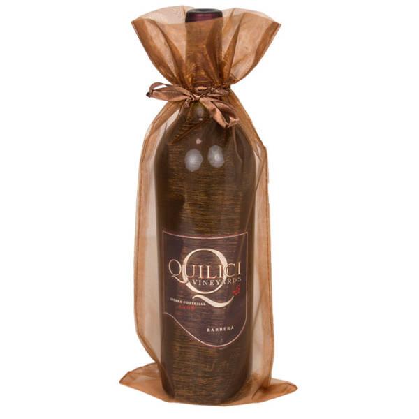 Copper Organza Wine Bags