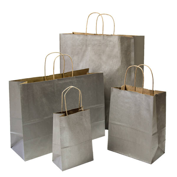 Metallic Silver Shopping Bag