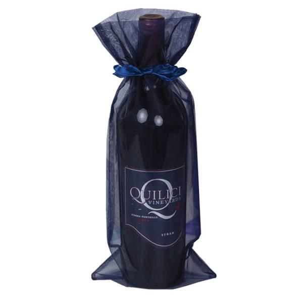 Navy Organza Wine Bags