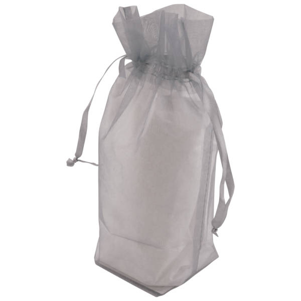 Silver Gusseted Organza Bags